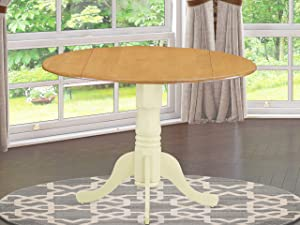 """East West Furniture DLT-OMK-TP Dublin Round Table with Two 9"""" Drop Leaves-Oak and Buttermilk Finish"""