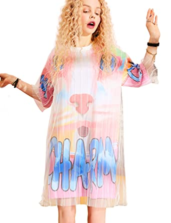 47921564fbd3 Elf Sack Women T Shirt Dress, Short Sleeve Tunic Tops Letter Graphic Printed  Loose Stylish
