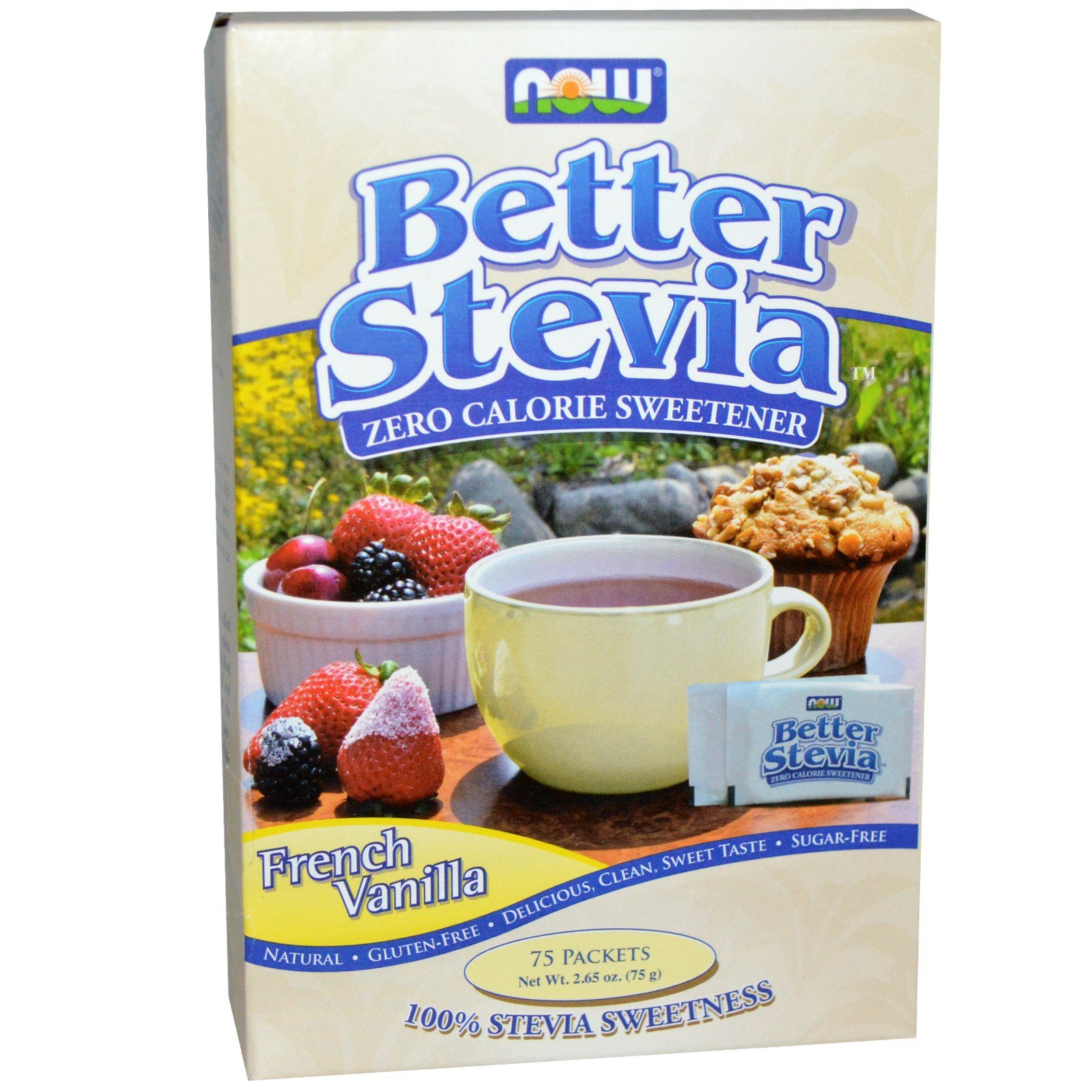 French Vanilla Stevia Packets, 75/box by Now Foods (Pack of 4)