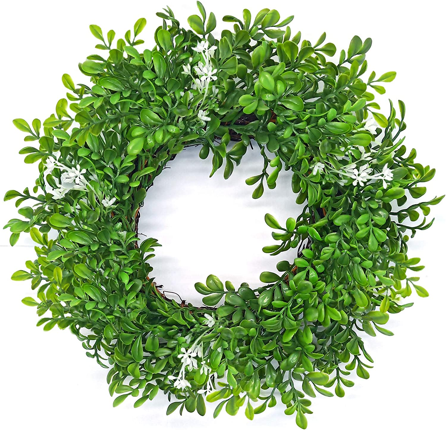 13 inch Boxwood Wreath Round Artificial Wreath Green Leaves Wreath for Door Wall Window Decoration or Candle Ring
