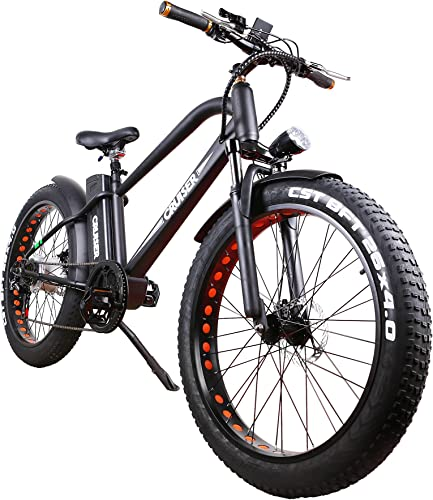 nakto Fat Tire Electric Bike Beach Snow Bicycle Fat Tire ebike 300W 350W 500W 36V 48V 8AH 10AH 12AH Electric Mountain Bicycle with Shimano 6 Speeds Lithium Battery