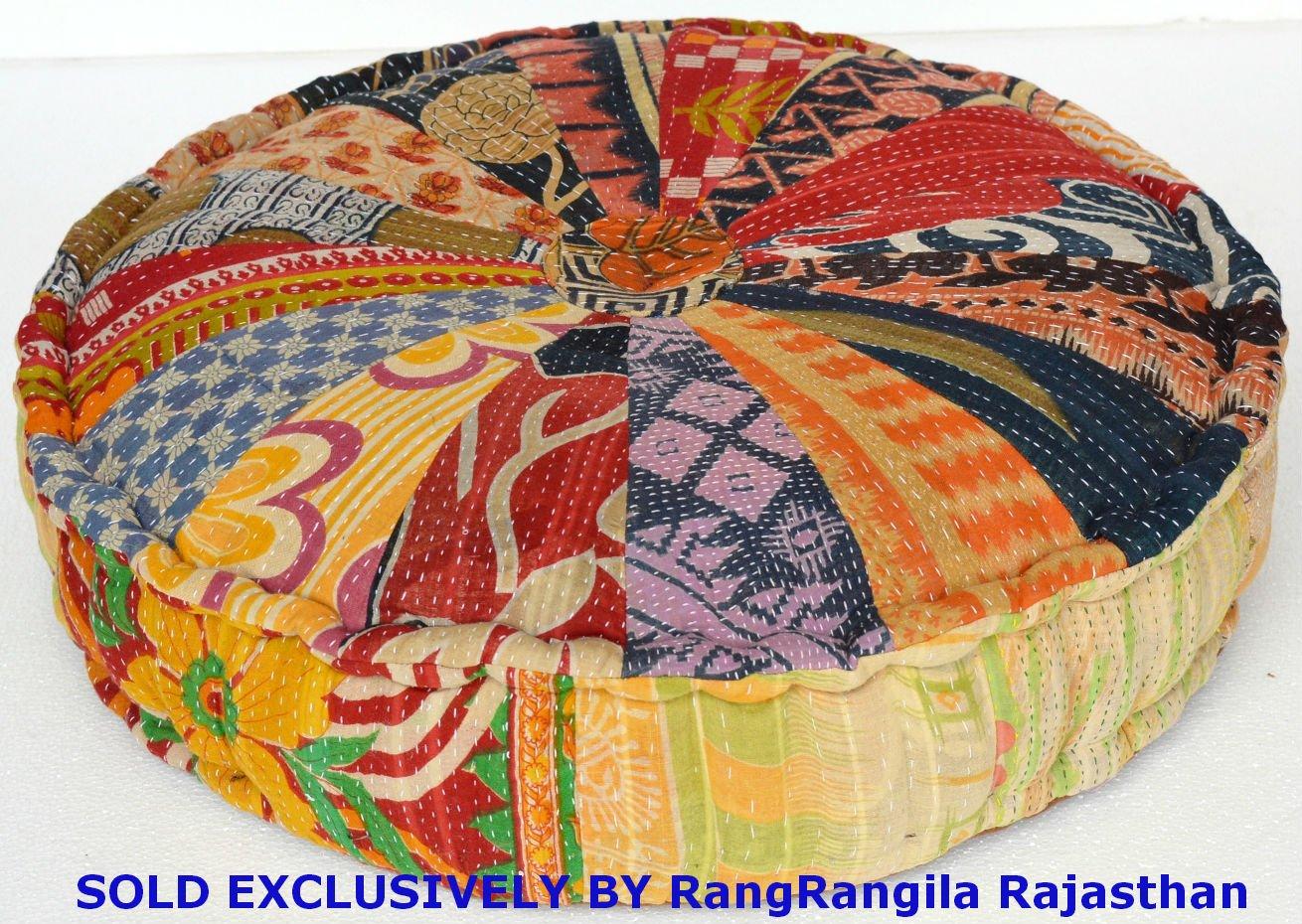 Amazon.com: RANGILA Stuffed Indian Vintage Kantha Patch Floor ...