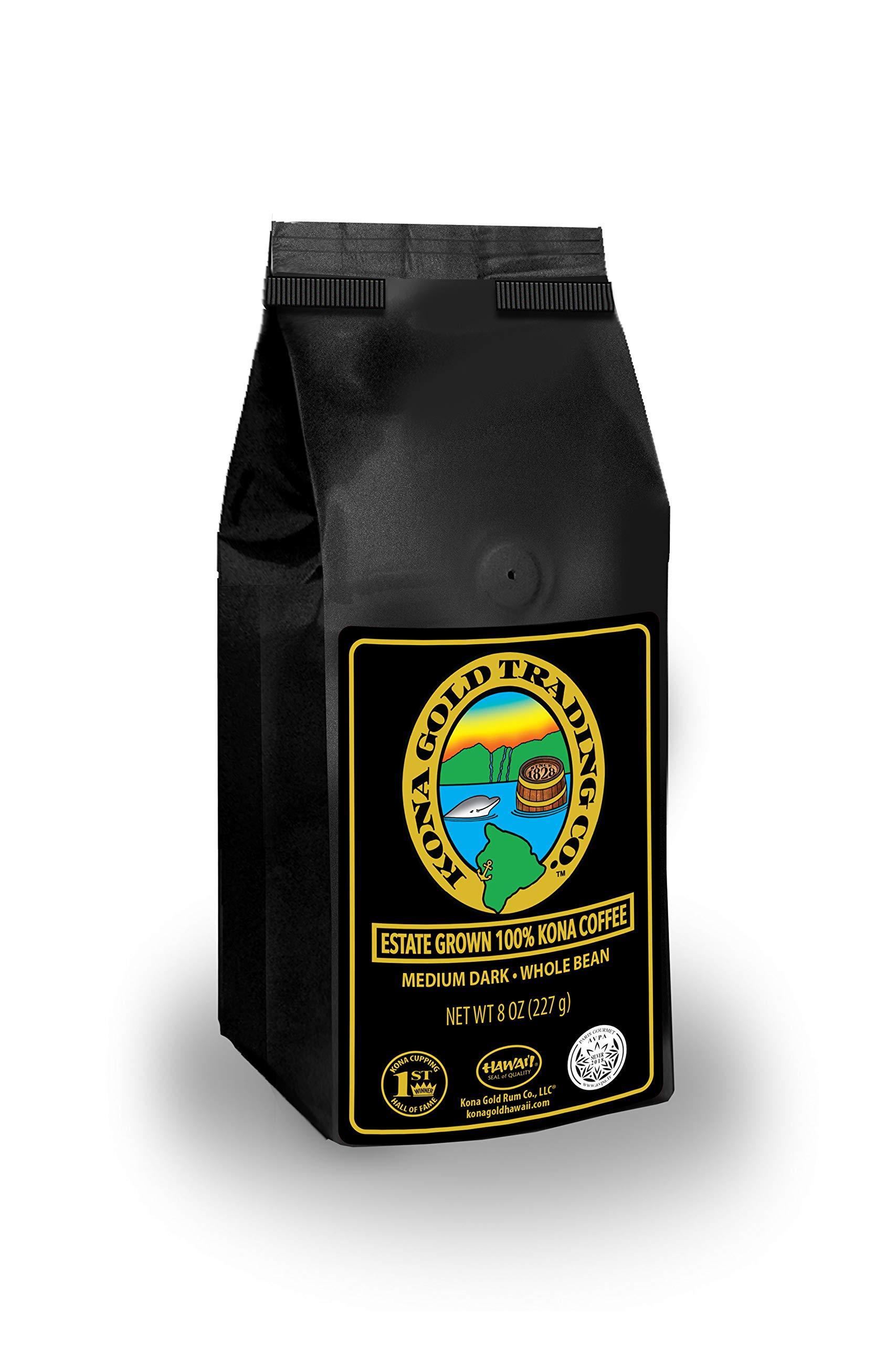 Kona Gold Coffee Whole Beans - 8 oz, by Kona Gold Rum Co. - Medium/Dark Roast Extra Fancy - 100% Kona Coffee by Kona Gold