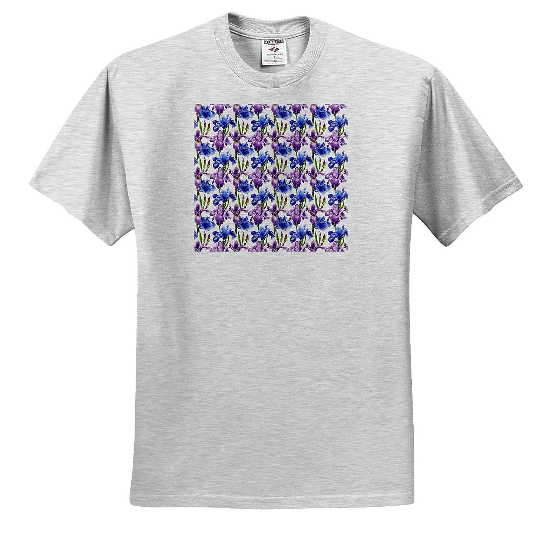 T-Shirts Pattern of Violet and Blue Color iris Fleur de lis Flowers Pattern Floral Iris 3dRose Alexis Design