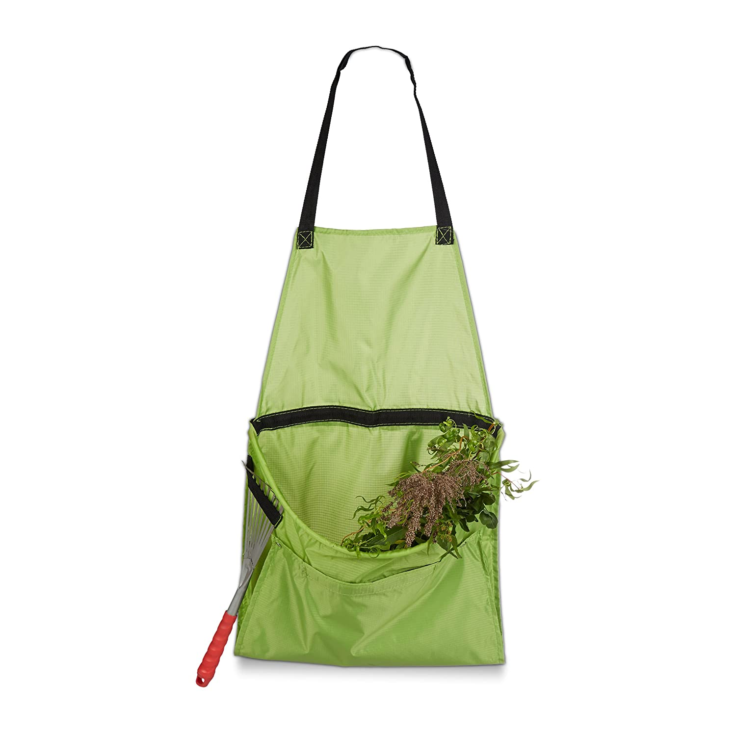 Relaxdays Garden Apron, Apron for Weeding and Harvesting, Adjustable Size, for Collecting Garden Waste, Green 10020711