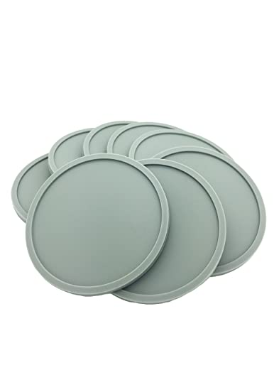Grey Silicone Coasters- Set of 8, Round, Stackable