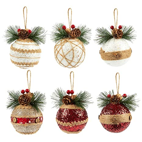 Christmas Decorations.Juvale 6 Pack Of Christmas Tree Decorations Small Christmas Decoration Rustic Ornaments Festive Embellishments 2 9 X 5 4 X 2 9 Inches