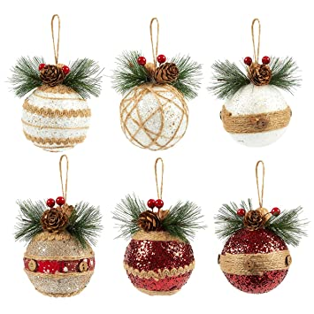 Amazon Com Juvale 6 Pack Of Christmas Tree Decorations Small