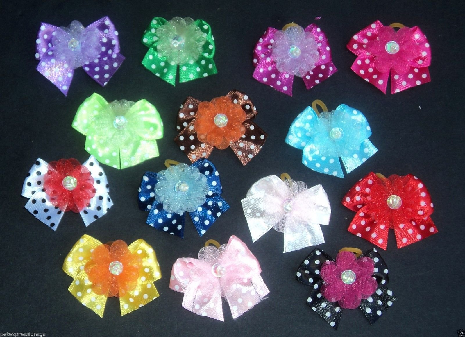 JJ Couture Lot 100 Dog Grooming Hair Bows Easter/Spring/Summer Collection-Polka-Dot Variety Colors - Super Value Pack for Groomers or PET Shops!!! by JJ Couture