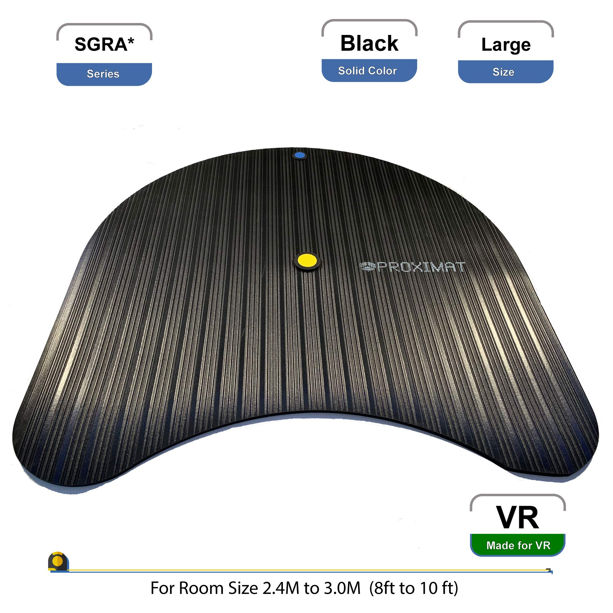 ProxiMat | SGRA* | Black | Large| Virtual Reality Chaperone Safety Mat Standing 8′ to 10′ Room Scale for HTC Vive…