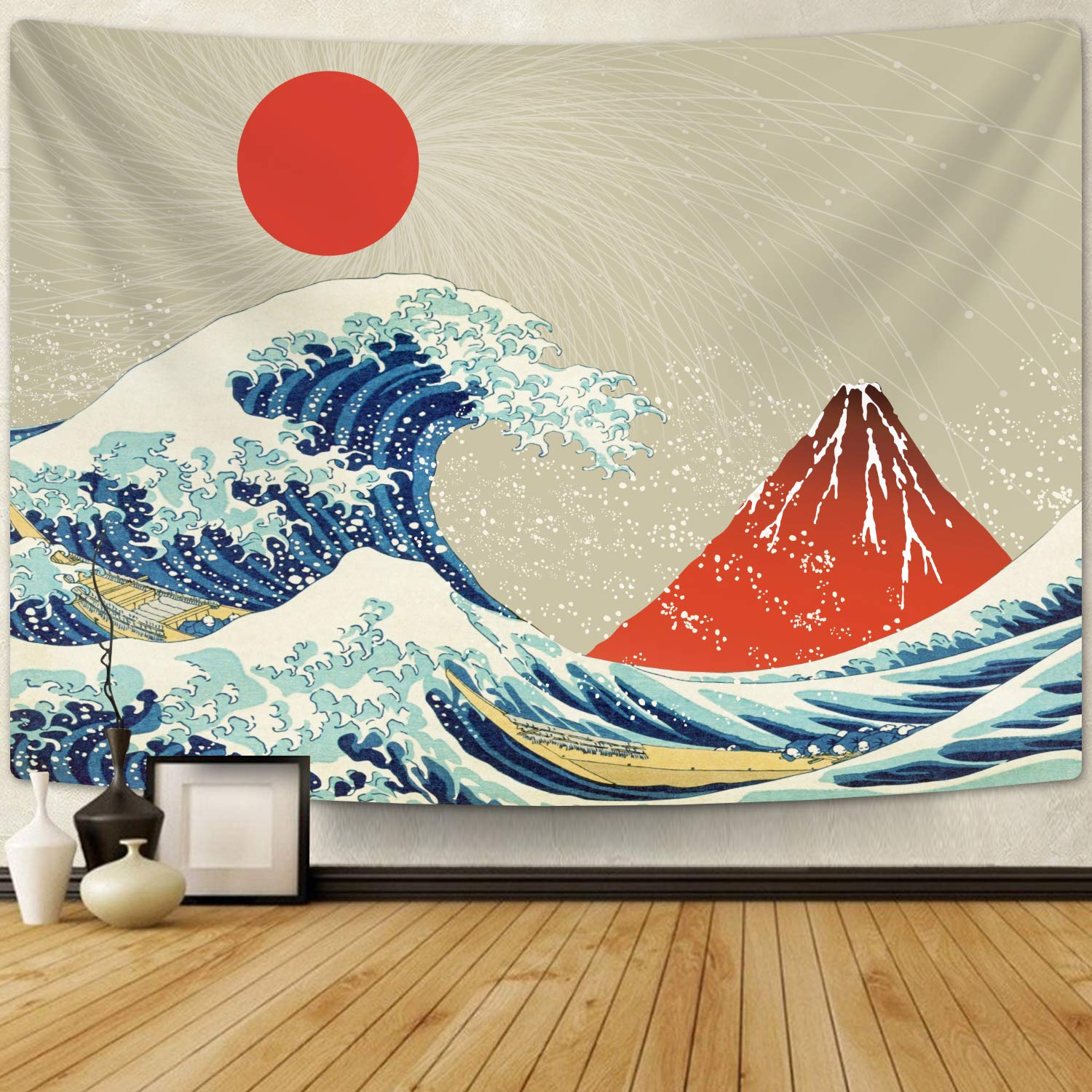 Amazoncom The Great Wave Off Kanagawa Tapiz Con Volcán