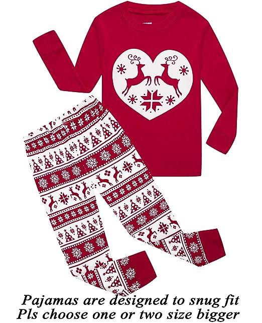 girls pajamas 100 cotton reindeer toddler clothes kids christmas pjs children sleepwear size 24m - Girls Christmas Nightgowns