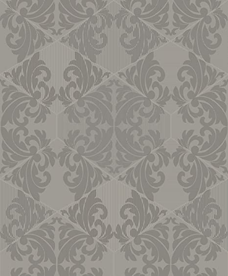 Holden Statement Zena Damask Pattern Wallpaper Stripe Motif Metallic Glitter Taupe 65270
