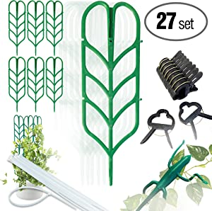 PeerBasics, Indoor Plant Trellis Bundle Pack, 6 Climbing Garden Leaf Shape Supports, 10 Large Flower Lever Loop Gripper Clips, 10 Zip Ties for DYI Climbing Stems Stalks & Vine Vegetable Potted Garden