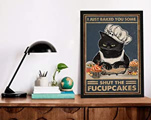 Retro Posters 80s I Just Baked You Some Shut The Fucupcake Funny Cat Art Home Decor Wall Art Cat Poster Print Black Cat Art Baking Wall Decor