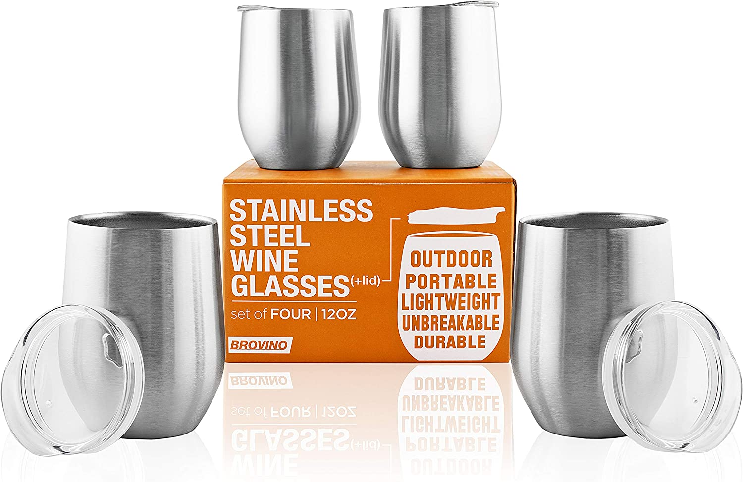 Stainless Steel Wine Glasses with Lid (Set of 4) - 12 oz Double Walled Insulated Outdoor Wine Tumblers - 100% Unbreakable & Stemless - Drinkware Set for: Wine, Coffee, Water