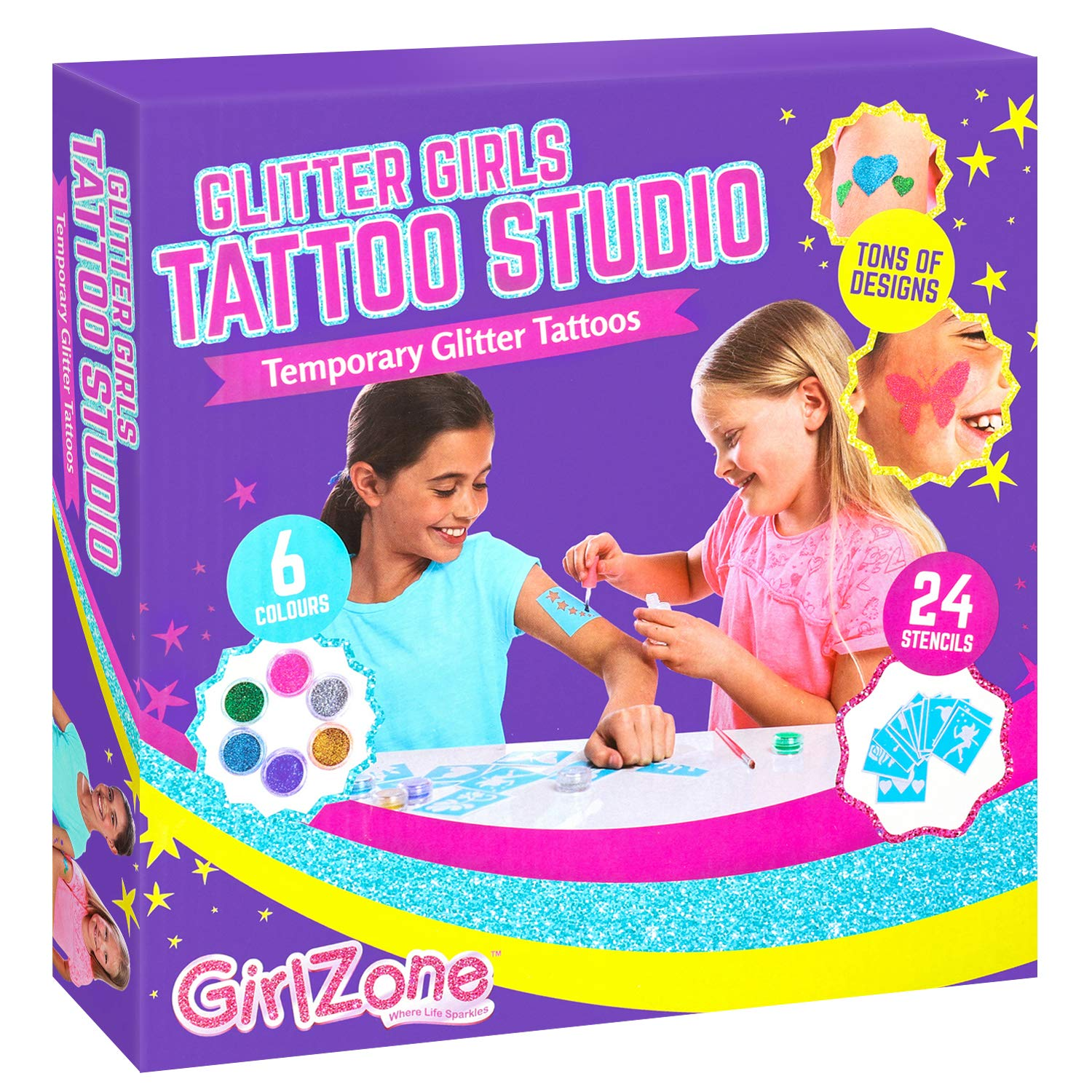 GirlZone Gifts for Girls: Temporary Glitter Tattoos Kit Including 33 Pieces, Best Birthday Present Idea for Girls Age 6 7 8 9+