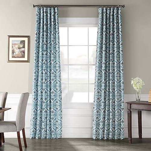HPD Half Price Drapes PTPCH-170802A-84 Designer Printed Blackout Curtain 1 Panel , 50 X 84, Iron Gate Blue