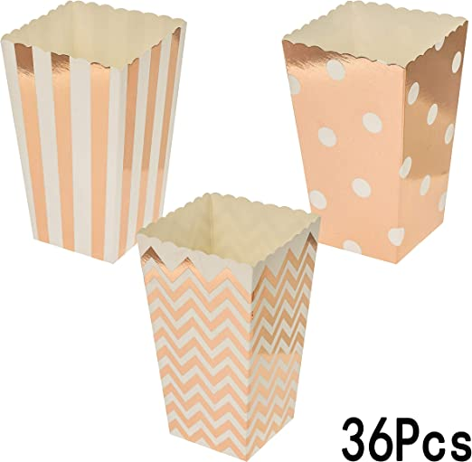 Amazon Com Rose Gold Party Popcorn Treat Boxes Wedding Bachelorette Bridal Shower Movie Theater Party Favors Mini Popcorn Candy Containers Baby Shower Birthday Party Treat Boxes Supplies 36ct Home Kitchen