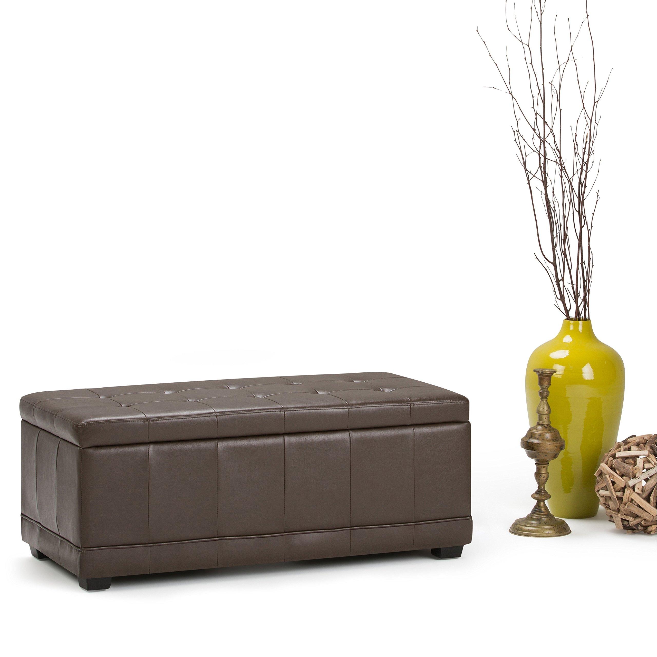 WyndenHall Norwood Storage Ottoman Bench Chocolate Brown Faux Leather, Wood, Foam