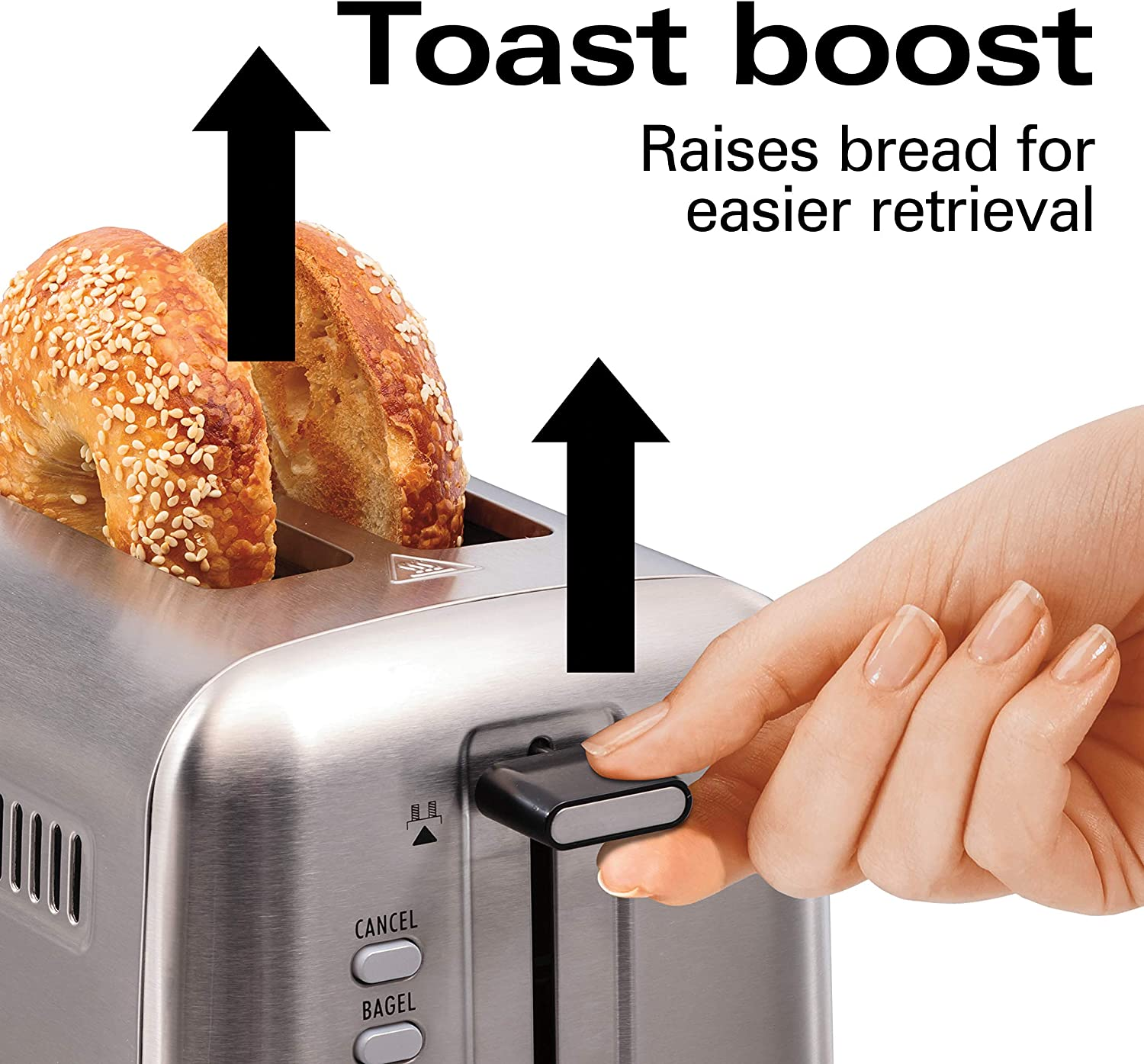 Hamilton Beach 22990 Professional 2 Slice Toaster, with Bagel, Defrost Reheat Settings, Stainless Steel