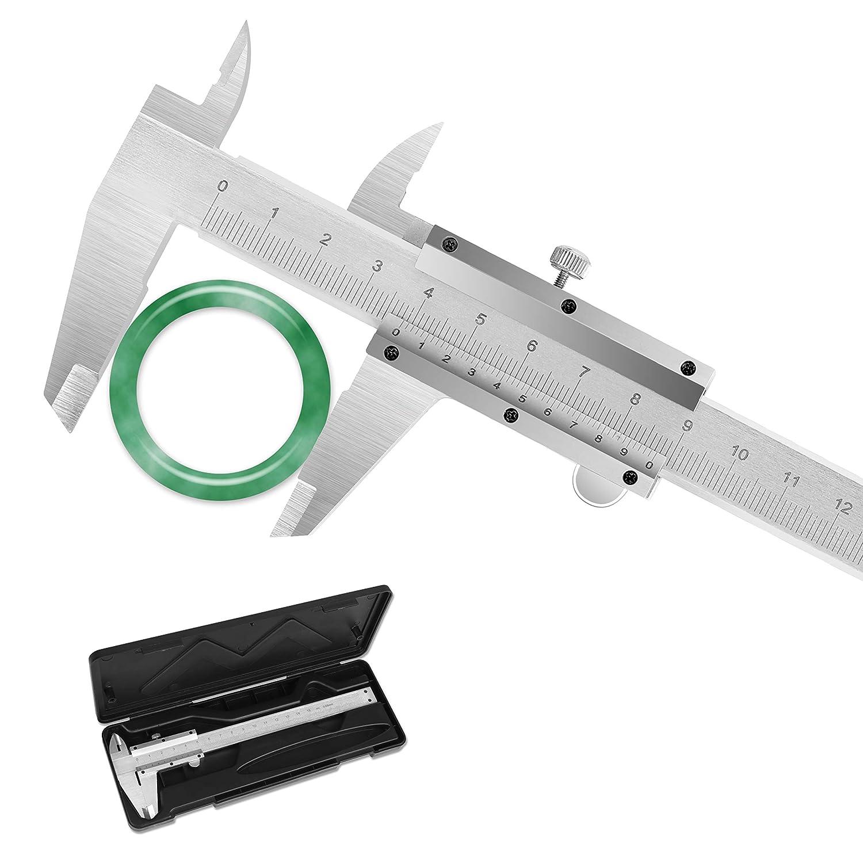Calibre pie de rey Vernier Calibrador Profesional Acero Inoxidable pie de rey analogico 150 mm Calibrador Precisión 0.02mm Impermeable Medir Diámetro Interior Exterior Profundidad