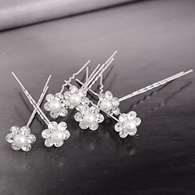 Yantu 40Pcs Wedding Bridal Beads Flower Crystal Hair Pins Clips Bridesmaid