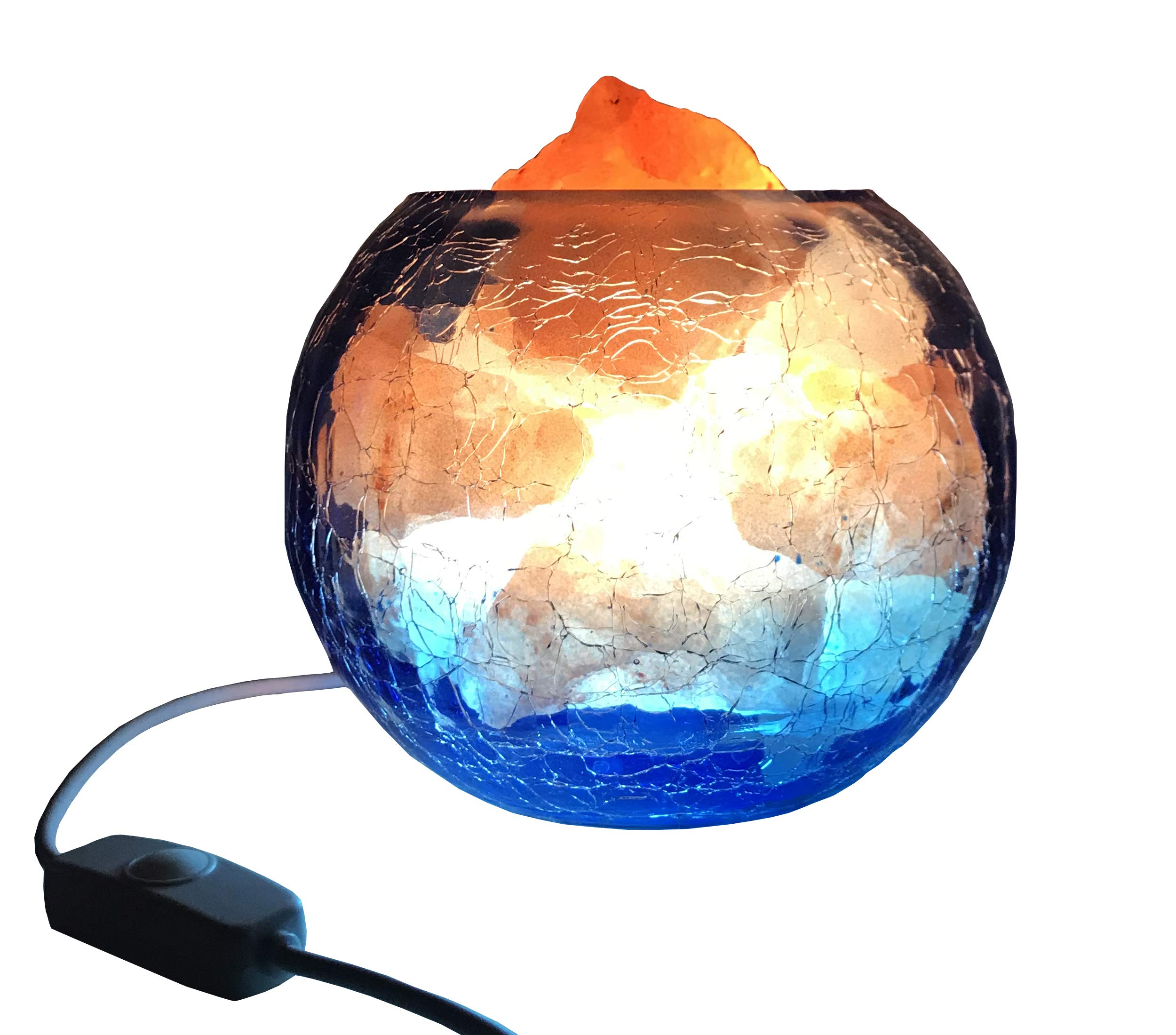 Salt Lamp with Dimmer Himalayan Crystal Rock Night Light New Style Glass Container (Blue)