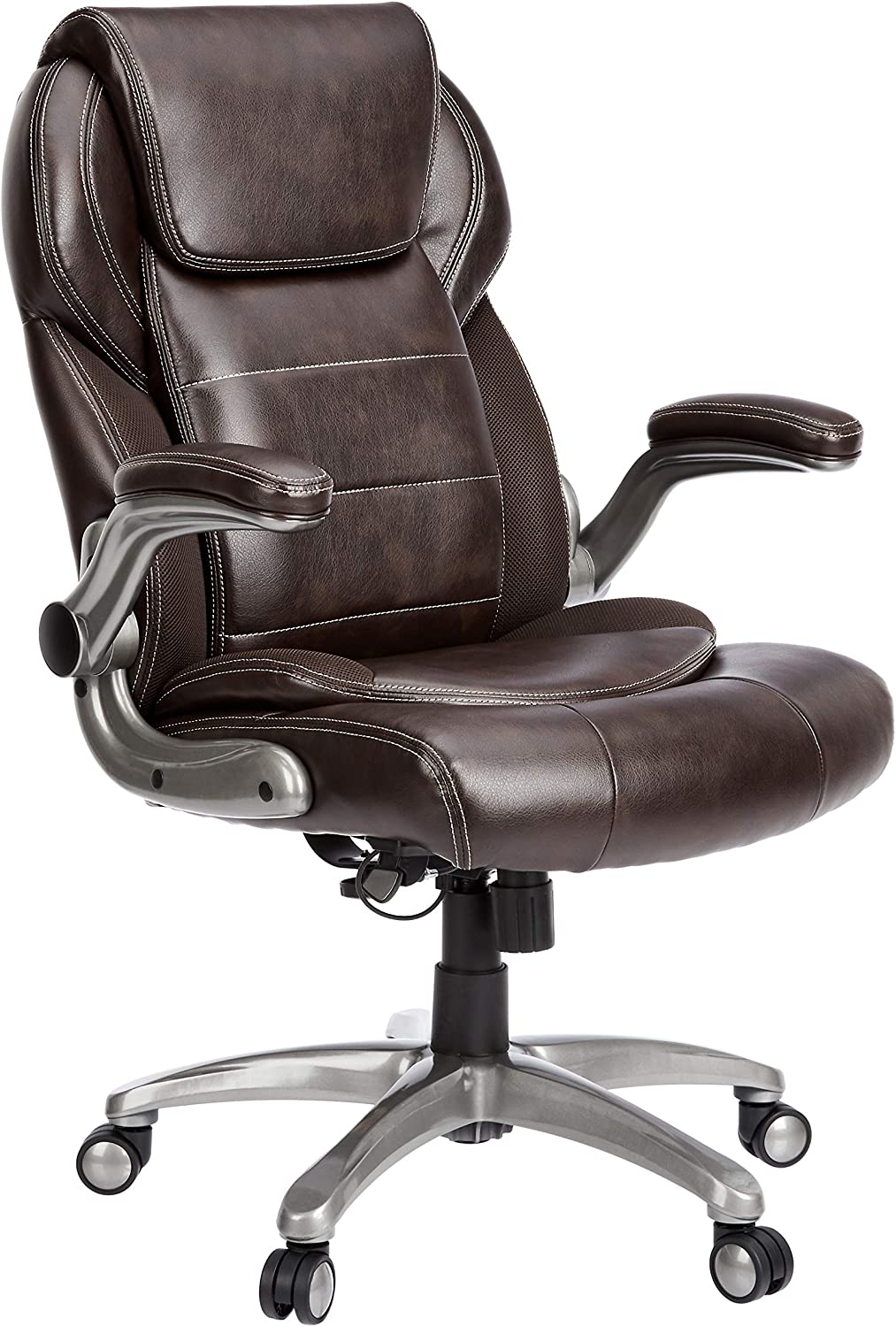 AmazonCommercial Ergonomic High-Back Leather Executive Chair with Flip-Up Arms and Lumbar Support, Brown