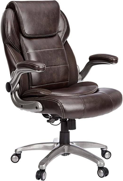 Amazon Com Amazoncommercial Ergonomic High Back Bonded Leather Executive Chair With Flip Up Arms And Lumbar Support Brown Furniture Decor