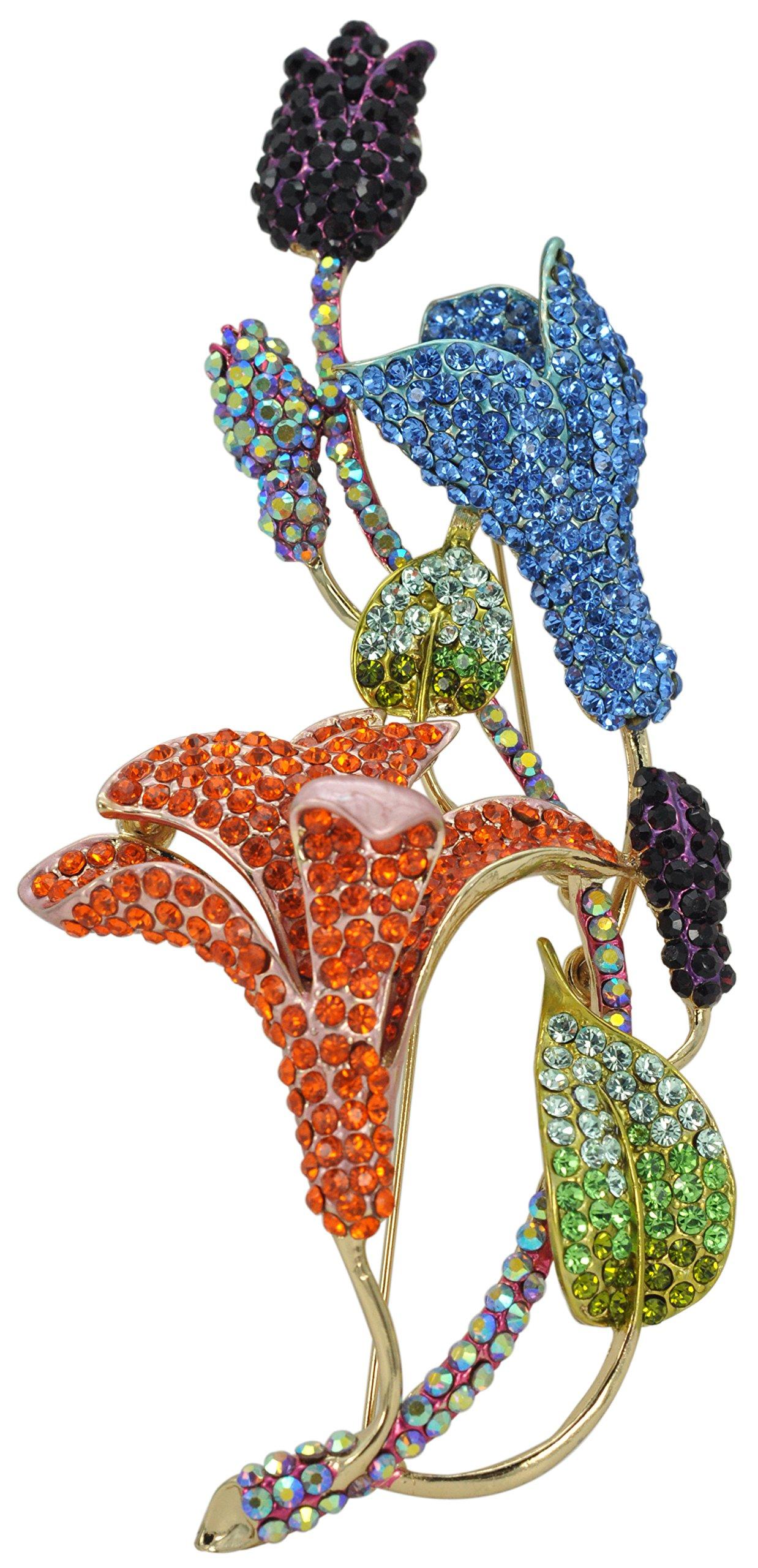 Gyn&Joy Classic Colorful Crystal Rhinestone Large Flower 5'' Calla Lilies Brooch Pin BZ081