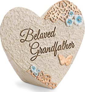 Pavilion Gift Company Light Your Way Memorial - Beloved Grandfather Memorial Heart Rock, Solid