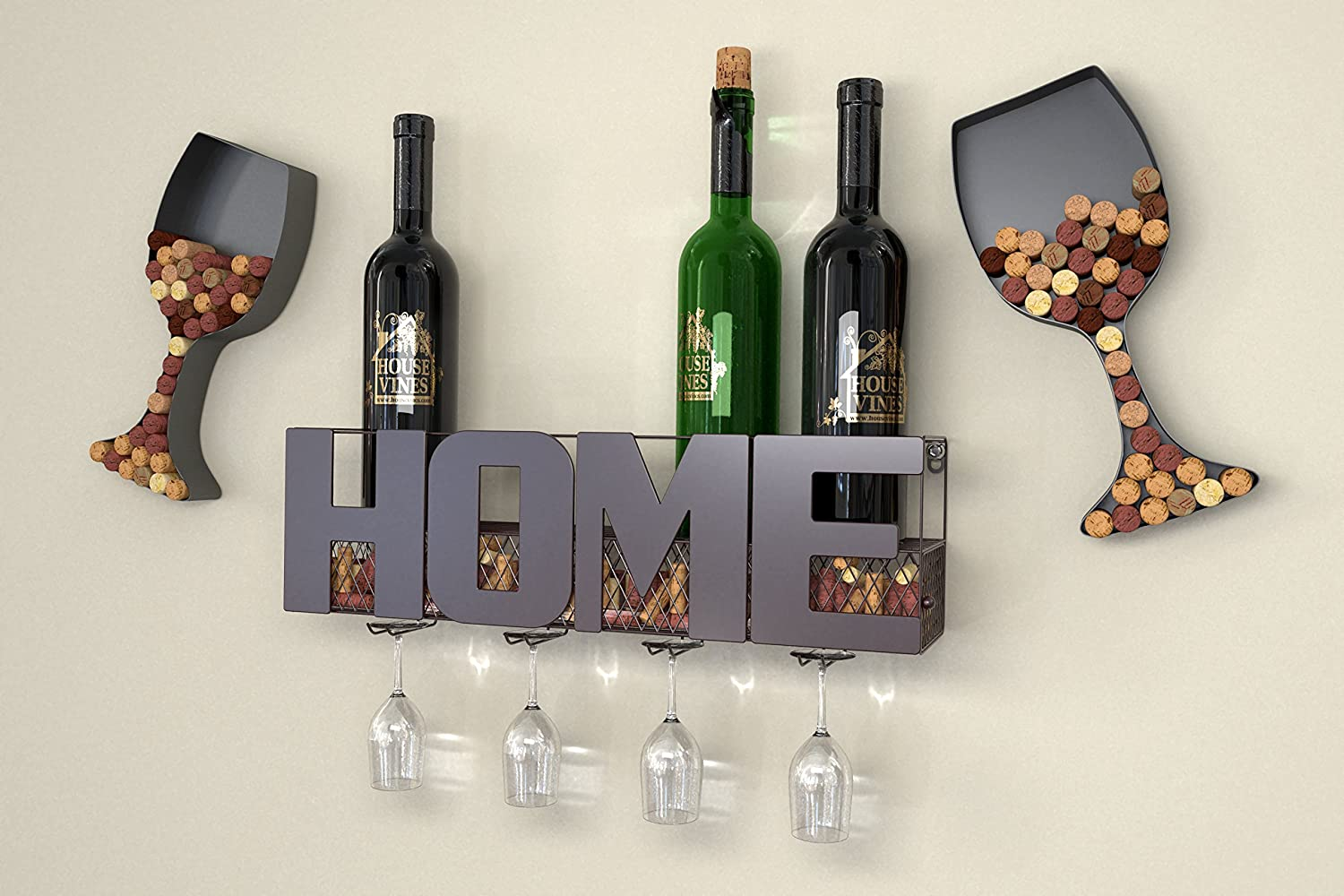 Gifts for Wine Lovers Wine Cork Storage by HouseVines Home Wall Mounted Metal Wine Rack with 4 Long Stem Glass Holder