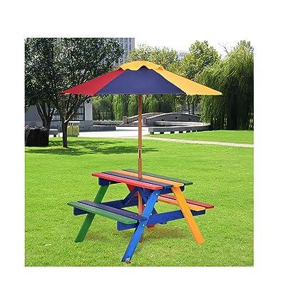 Amazon Com Costway 4 Seat Kids Picnic Table With Umbrella Garden