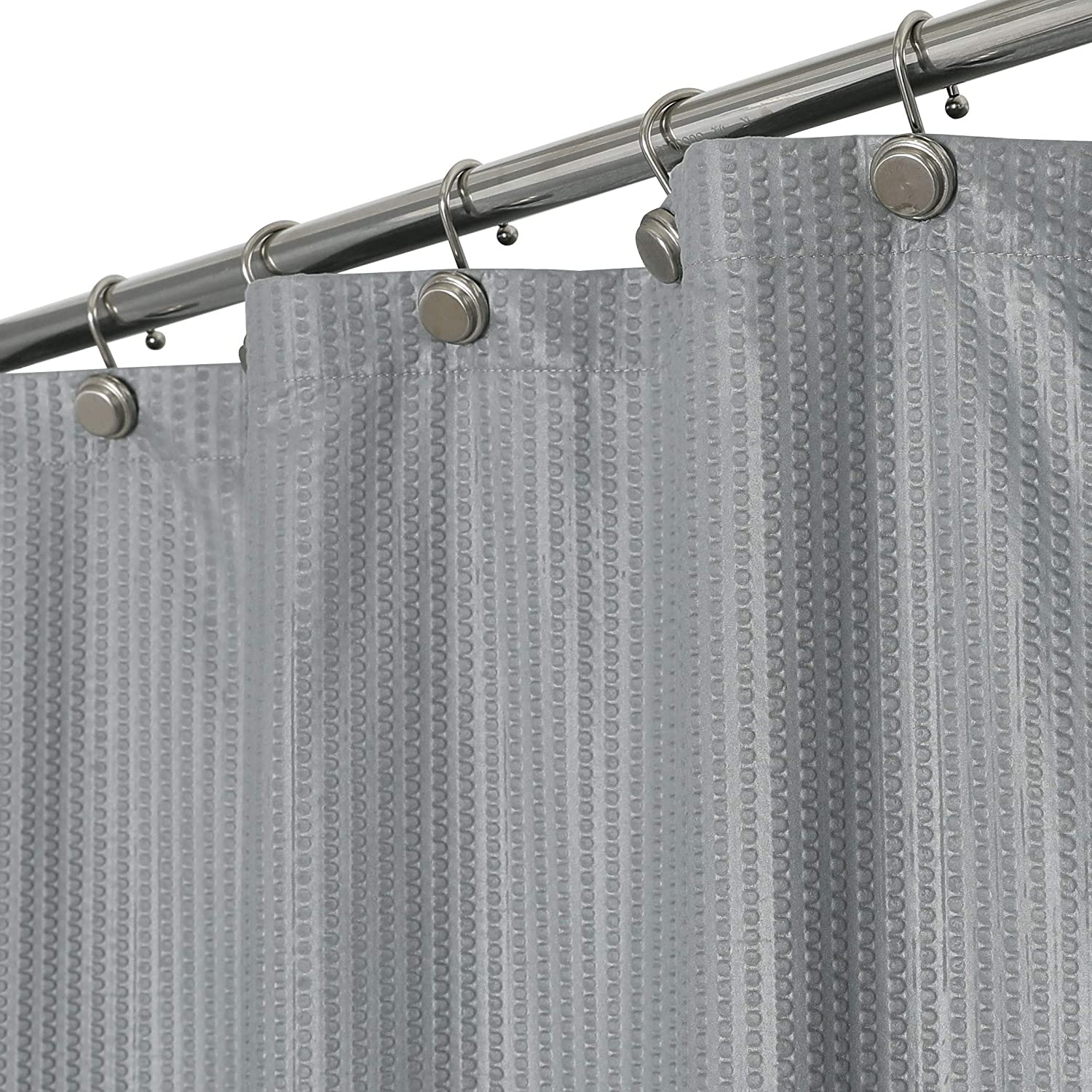 WEST LAKE Fabric Shower Curtain Grey Bathroom Decor Button Holes Design Water Resistant Hotel Luxury Spa Embossed Shower Curtain,Machine Washable,Gray/Grey, 70x72 inch