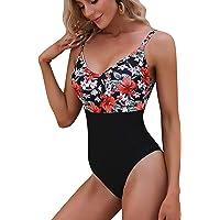 Akalnny Traje Bañador Mujer de Dos Piezas Traje de Baño para Mujer con Barguitas Swimsuit Top Tankini Flores Rayas…