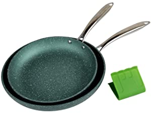 WaxonWare 9.5 & 11 Inch Nonstick Frying Pans, Non Toxic PFOA Free Nonstick Skillets, Induction Compatible, Dishwasher, Metal Utensil & Oven Safe Omelette Fry Pan With Stone Coating (EMERALD Series)