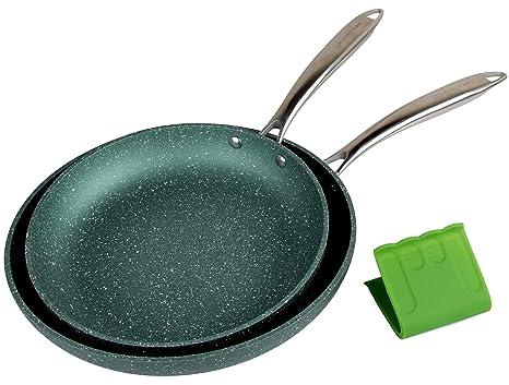 WaxonWare - Juego de sartenes antiadherentes de esmeralda para inducción y horno (12,7