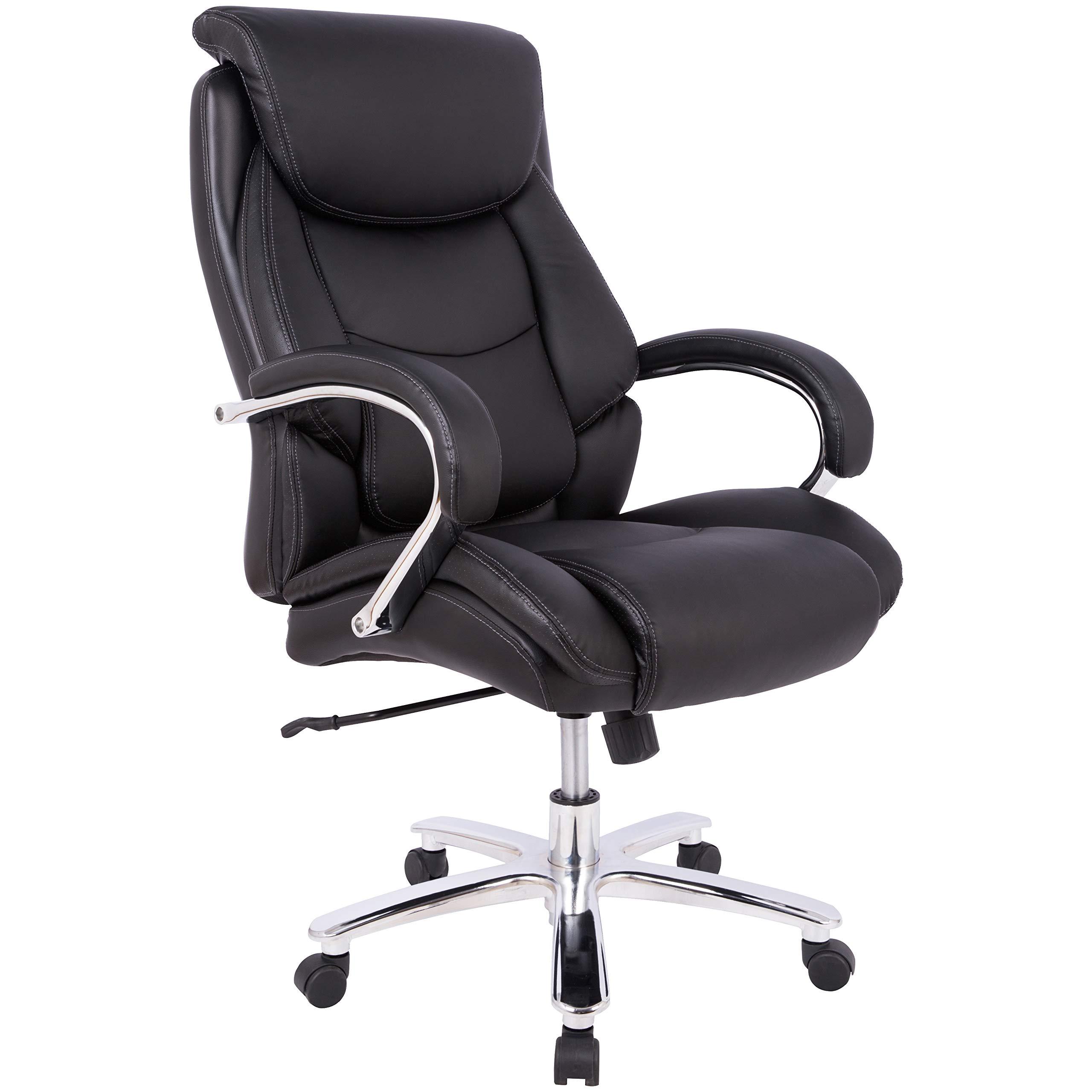 AmazonBasics Big & Tall Executive Office Desk Chair - Adjustable with Armrest, 500-Pound Capacity - Black with Pewter Finish by AmazonBasics