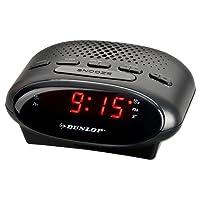 DUNLOP Uhrenradio LED | Radiowecker | Einschlafautomatik | AM / FM Radio | Automatischer Sendersuchlauf mit 20 Senderspeicher | Stromausfallabsicherung | Schlummerfunktion | Weckton wahlweise Summer oder Radio