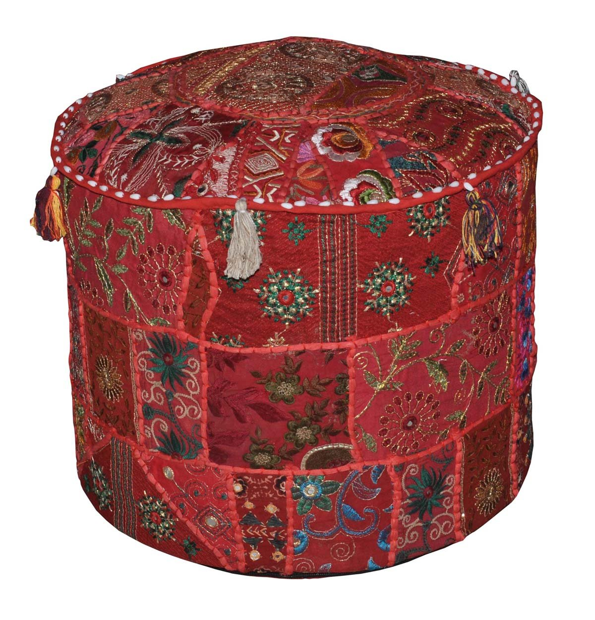 Indian Comfortable Floor Cotton Cushion Ottoman Cover Embellished With Patchwork and Embroidery Work, 46 X 33 Cm Marubhumi