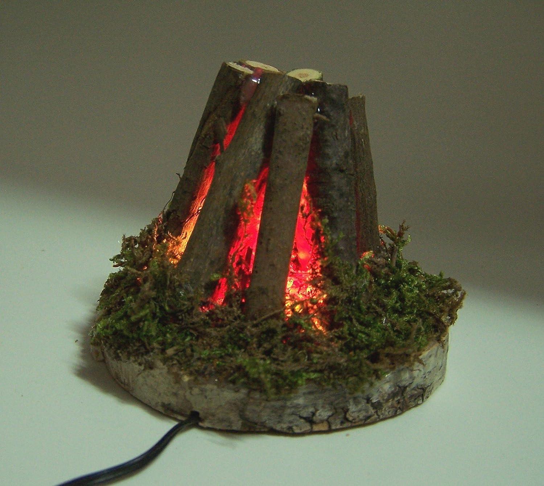 Krippenbau-Lewen Feuerstelle Lagerfeuer 6 cm aus /Ästen f/ür Weihnachtskrippe f/ür 3,5V Trafo