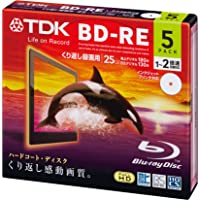 TDK Bluray Disc 25 gb BD-RE rewritable 2x Speed Printable HD discs 5 pack in Jewel cases
