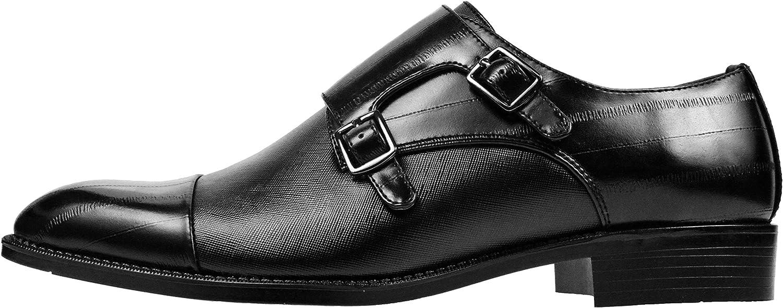 EEL Skin Printed Strap//Cap Toe Bolano The Original Mens Black Smooth Double Monk Strap Dress Shoe w Marcus-000