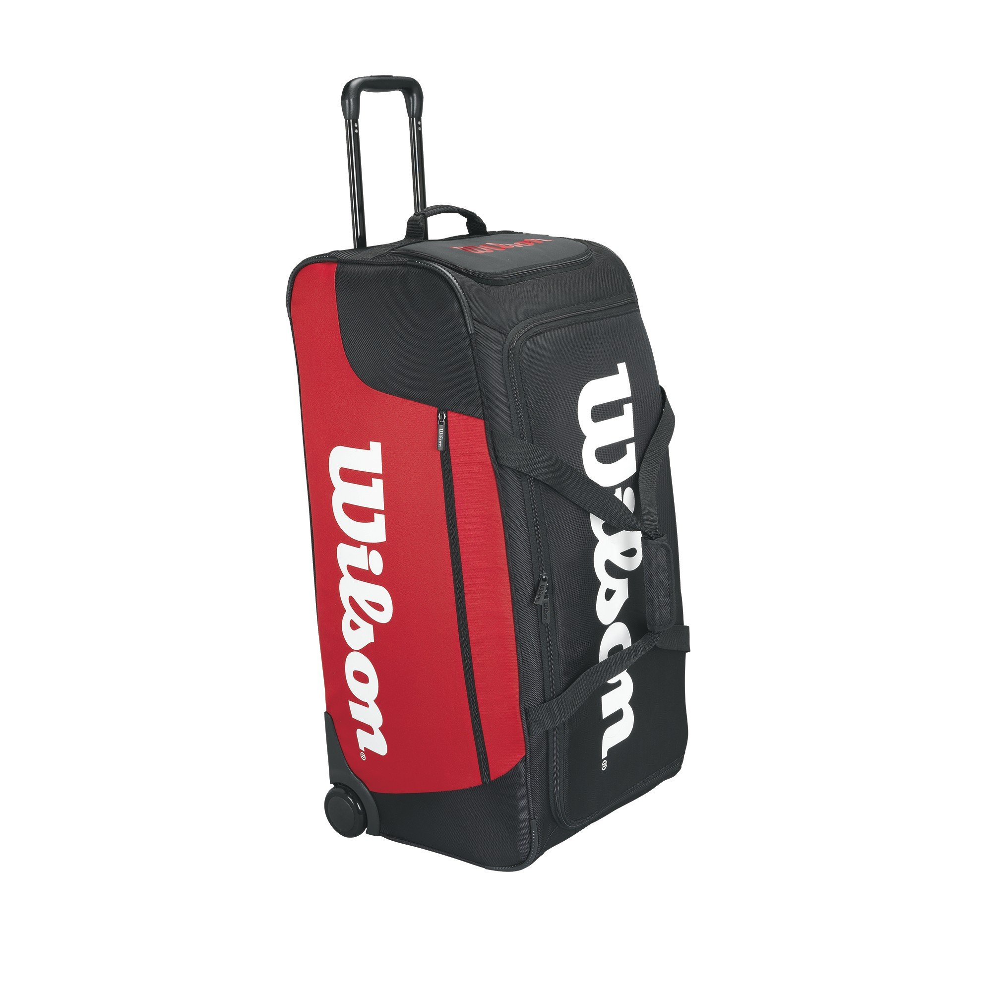 Wilson Tour Traveler Racquet Bag with Wheels, Black/Red