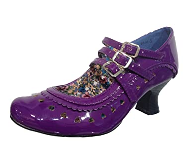 180f4d4bc0be36 Destiny Shoes DS-07 Womens PURPLE Round Toes Patent Mid Heels Mary Jane  Court Shoes