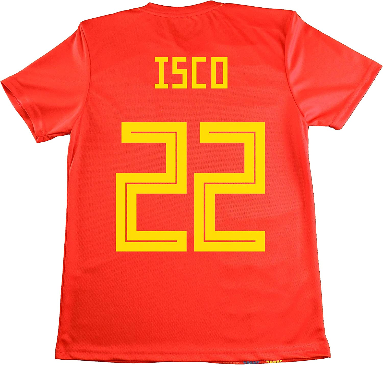 LICECIA DE LA REAL FEDERACION DE FUTBOL ESPAÑOLA Camiseta ISCO Infantil España. Producto Oficial Licenciado Mundial Rusia 2018. (Rojo, Talla 14): Amazon.es: Deportes y aire libre