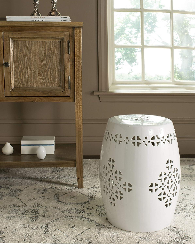 Safavieh ACS4535D Quatrefoil Ceramic Decorative Garden Stool, Orange: Furniture & Decor