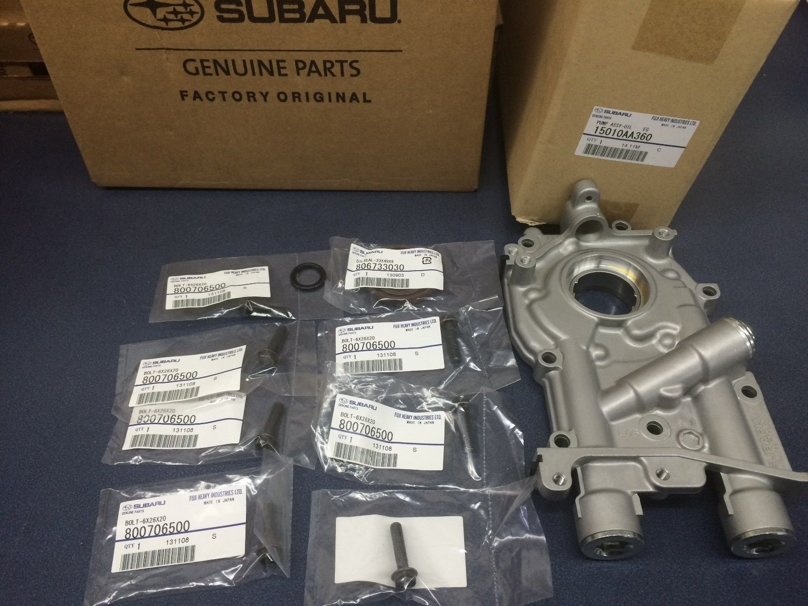 Genuine Subaru 11mm 2.5L Oil Pump w/ Bolts & Seals WRX STi Turbo Oem IMPREZA LEGACY OUTBACK 2008-2015 by Subaru