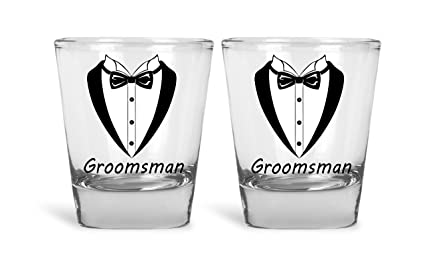 f169f0e7112 Wedding and Bachelor Party 5 Pack Shot Glasses Funny Tuxedo Novelty Groom
